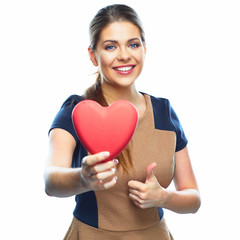 Business woman hold heart. Valentine day love symbol.