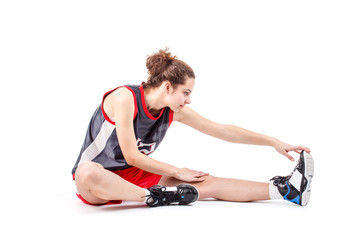 Basketball woman stretching leg