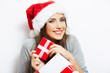 Christmas Santa hat isolaed woman portrait hold christmas gift