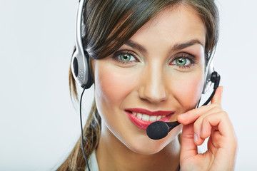Customer support operator. Woman face.