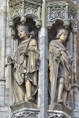 Gothic statues on city hall in Middelburg