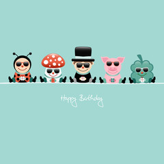 Birthday Card 5 Cartoons Sunglasses Gifts Retro