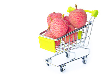 fresh lychees in shopping cart