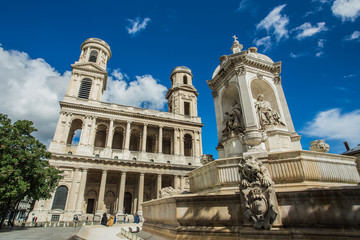 Church of Saint Sulpice with fountain, Paris, France