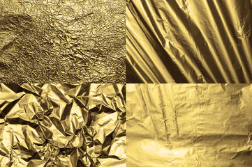 Set of four golden metal foil textures