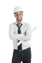 Young handsome contractor with drawing plans isolated on white