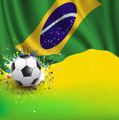 brazil flag & soccer ball on grunge texture background, vector