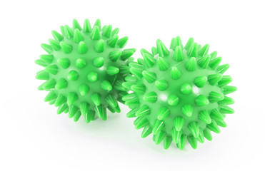 Two massage balls on white