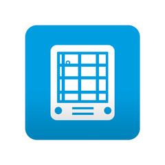 Etiqueta tipo app azul simbolo GPS