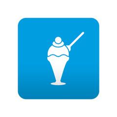 Etiqueta tipo app azul simbolo heladeria