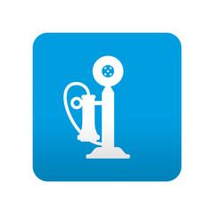 Etiqueta tipo app azul simbolo telefono antiguo
