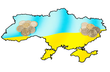 Different coins on ukrainian map concept