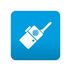 Etiqueta tipo app azul simbolo walkie-talkie