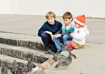children and doves