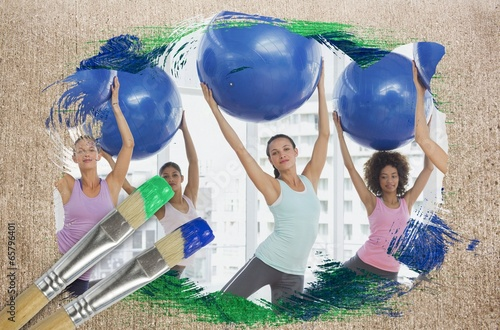 Composite image of fitness class at the gym