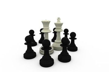 White king and queen surrounded by black pieces