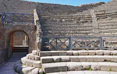 Entrance to Odeion (small theatre) in Pompeii