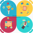 Set of flat icon design for web, business, social networks, fina