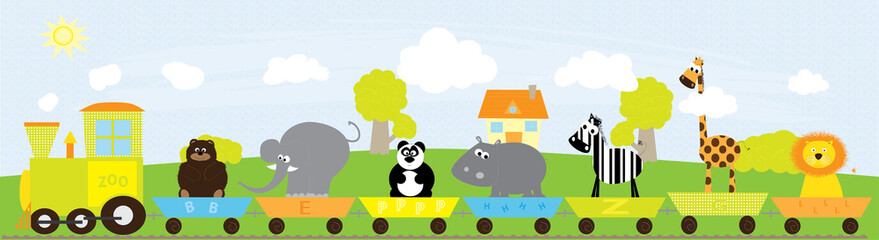 animals train- vectors illustration - colorful background