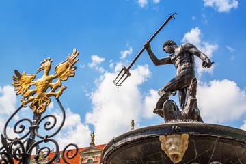 Famous Neptune fountain, symbol of Gdansk, Poland