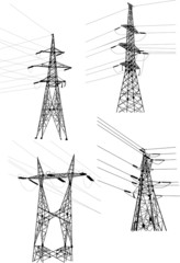 four electrical pylons and cables on white