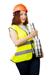 Girl in helmet with metal cans in their hands. Isolated.