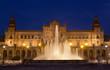Plaza de Espana in Seville at night, fountain with illumination