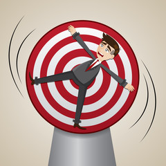 cartoon businessman locked on spinning target