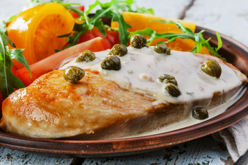 chicken fillet with caper sauce