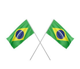 two crossed  Flag of Brazil