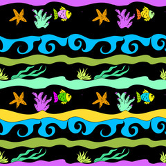 Undersea seamless childish pattern