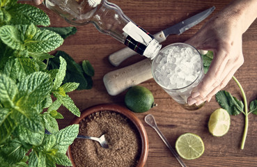 hands preparing mojito cocktail