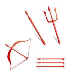 red weapons trident arrow and bow