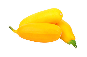 Yellow vegetable marrow (zucchini), isolated on white background