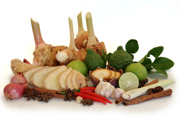 garnish vegetables groups  isolated on white