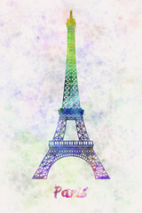 Paris Landmark Tour Eiffel in watercolor