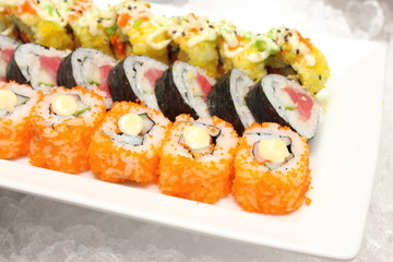 Sushi Roll on a white plate