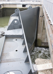 big metal river sluice door