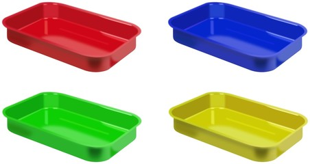 Set of realistic colored plastic trays