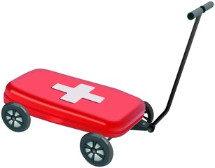 Small red plastic Medical box on four wheels handcart