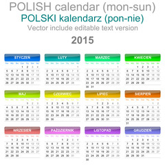 2015 Calendar Polish Language Version Mon - Sun