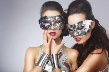 Masquerade. Artistic Women in Fancy Bright Glasses