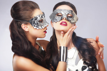 Performance. Entertainment. Women in Silver Masks. Artistry