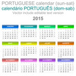 2015 Calendar Portuguese Language Version Sun – Sat