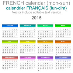 2015 Calendar French Language Version Mon - Sun