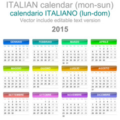 2015 Calendar Italian Language Version Mon – Sun