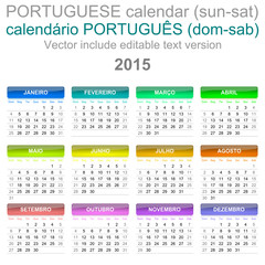 2015 Calendar Portuguese Language Version Sun – Sat