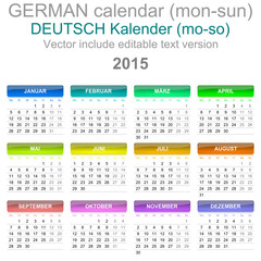2015 Calendar German Language Version Mon - Sun