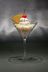 Vanilla ice cream in a Martini glass