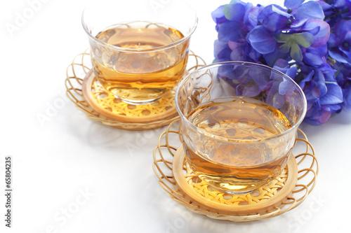 Japanese barley tea and hydrangea